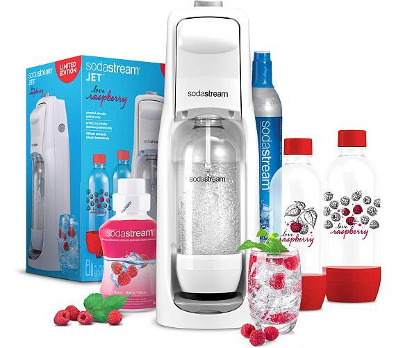 SodaStream JET WHITE + Lahev 2x1l + Příchuť malina 500ml + DOPRAVA ZDARMA