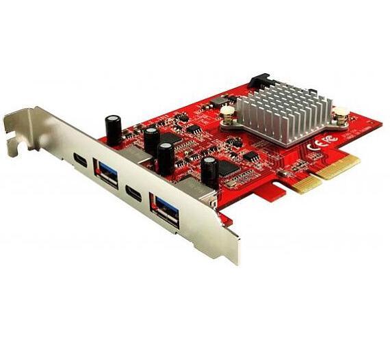 KOUWELL UB-160 / řadič pro 2x USB 3.1 Gen 2 Type-A (5V2A) a 2x USB 3.1 Gen 2 Type-C (5V3A) / PCIe /
