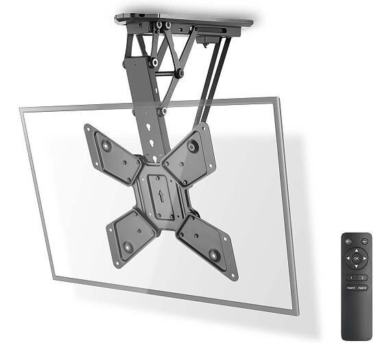 """Motorizovaný strop TV Držák / 23 - 55 """" / Maximální podporovaná hmotnost obrazovky: 30 kg / Naklápěcí / Maximální vzdálenost od stropu: 663 mm / Minimální vzdálenost od stropu: 108 mm / Dálkově ovládané / Ocel / Černá + DOPRAVA ZDARMA"""