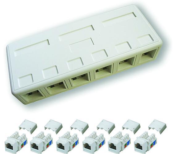 DATACOM zásuvka UTP CAT5E 6xRJ45 na omítku bílá (2205)