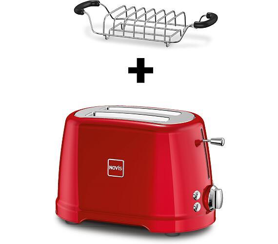 Novis Toaster T2 (červený) + mřížka na rozpékání ZDARMA