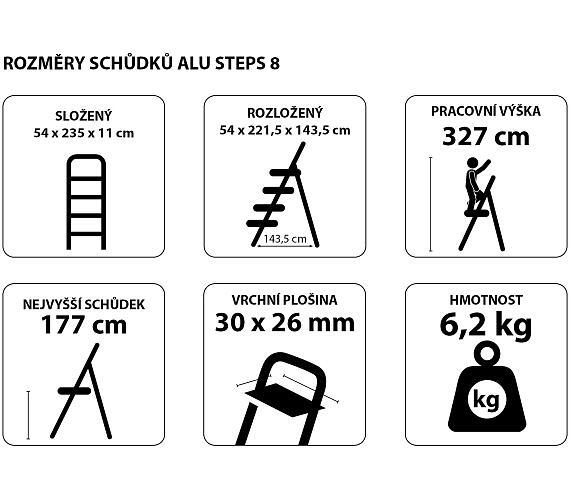 Schůdky hliníkové skládací ALU STEPS 8