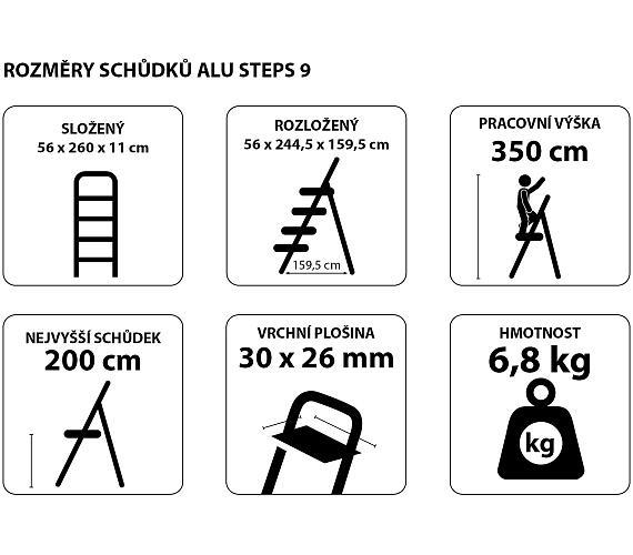 Schůdky hliníkové skládací ALU STEPS 9
