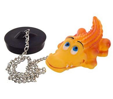 BRILANZ Špunt vanový s plovoucím zvířátkem na řetízku - krokodýl