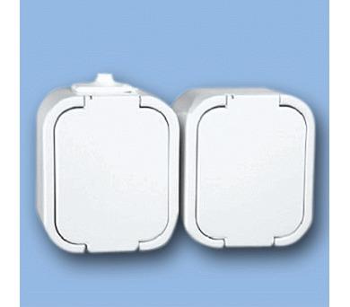 Instalační zásuvka dvojitá GNT-6 IP44 bílá