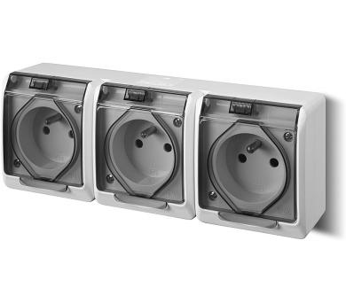 Instalační trojzásuvka Galatea 5323-01 IP44 bílá-transparentní