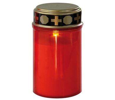 Hřbitovní svíčka červená LED s mihotáním plamenu svíčky