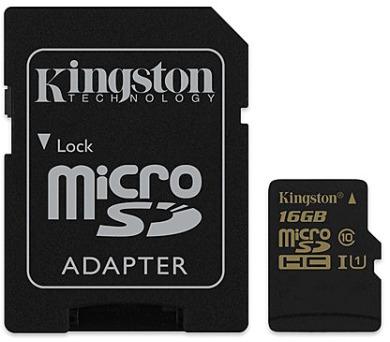 Kingston MicroSDHC 16GB UHS-I U1 (90R/45W) + adapter