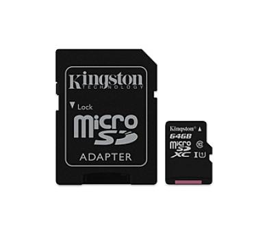 Kingston MicroSDXC 64GB UHS-I U1 (90R/45W) + adapter