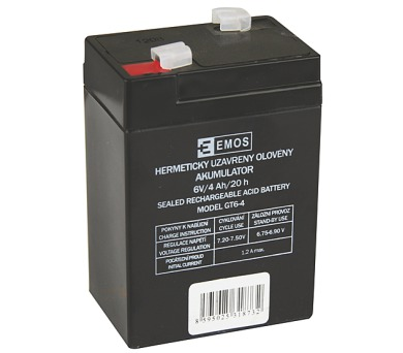 Olověný bezúdržbový akumulátor 6V / 4,0Ah B9641 (70x47x101mm)