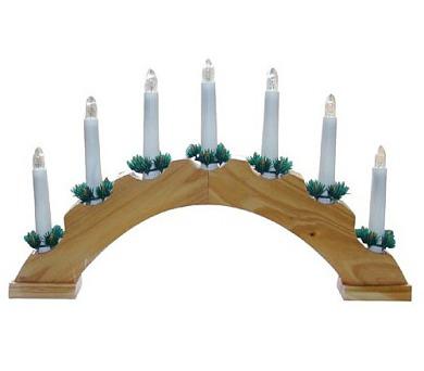 Vánoční svícen oblouk - DŘEVĚNÝ - přírodní
