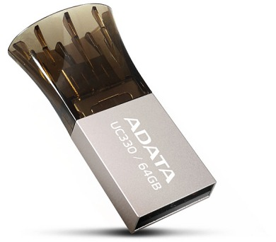 A-Data UC330 64GB OTG USB 2.0 - hnědý