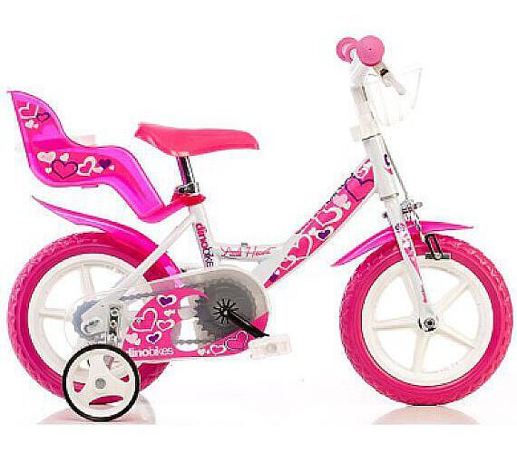"""Dino 124GLN bílá+růžový potisk 12"""" 2015 dětské kolo"""