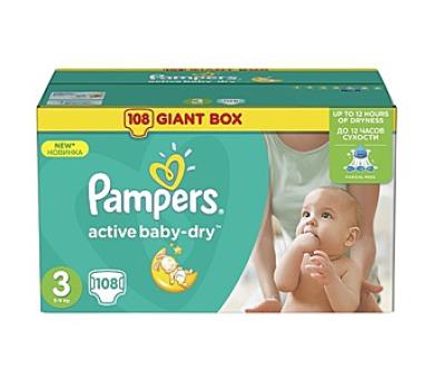 Pampers Active Baby-dry vel. 3 Midi + DOPRAVA ZDARMA
