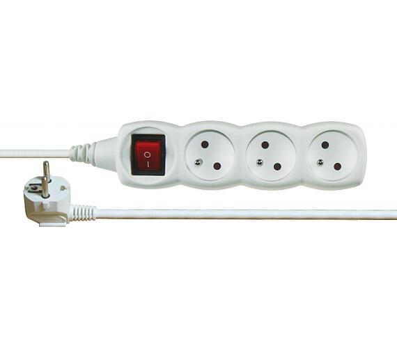 Prodlužovací kabel bílý s vypínačem 3 zásuvky 5m