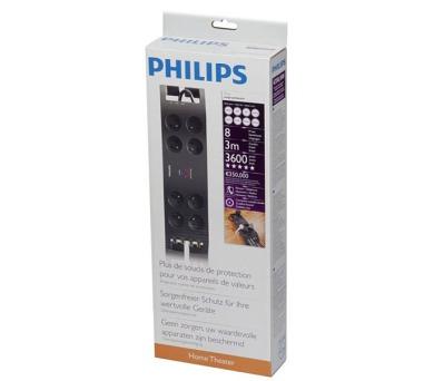 PHILIPS 8 zásuvek 3m garance 350000€,černá + DOPRAVA ZDARMA