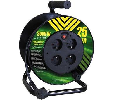 PVC prodlužovací kabel na bubnu - 4 zásuvky 25m pevný střed + DOPRAVA ZDARMA