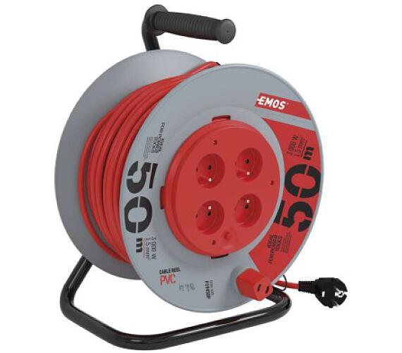 PVC prodlužovací kabel na bubnu - 4 zásuvky 50m pevný střed