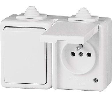 Vypínač a zásuvka nástěnná 3932-20062B IP44