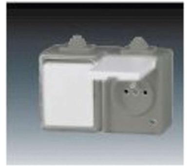 Vypínač a zásuvka nástěnná 3932-20062S IP44