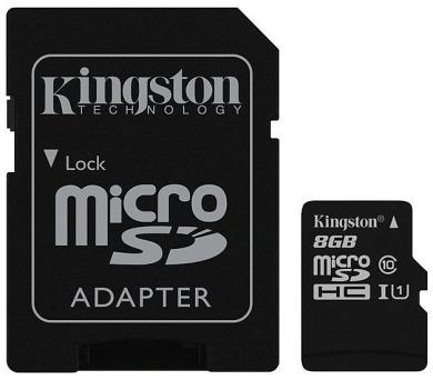 Kingston MicroSDHC 8GB UHS-I U1 (45R/10W) + adapter