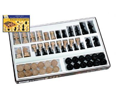 Šachy+dáma dřevo společenská hra v krabici 42x26,5x4cm