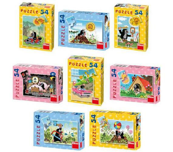 Minipuzzle Krtek 19,8x13,2cm 8 druhů 54 dílků v krabičce 9x7x3cm 40ks v boxu