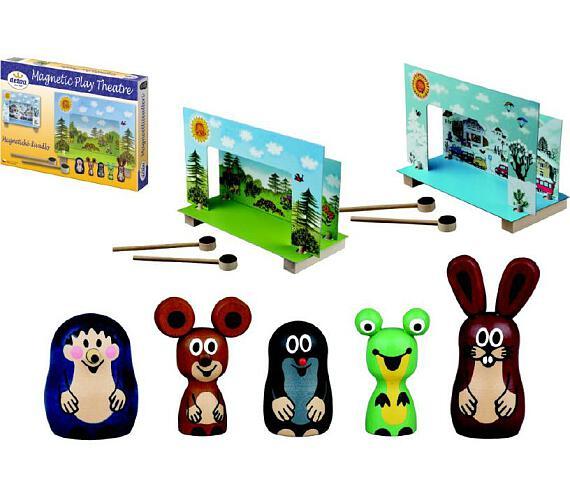 Divadlo Krtek magnetické dřevěné s figurkami v krabici 33x23x3,5cm