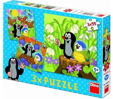 Puzzle Krtek a ptáček 18x18cm 3x55 dílků v krabici 27x19x3,5cm