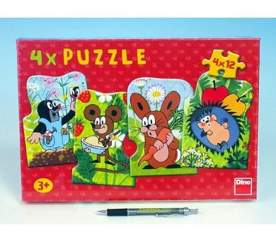 Puzzle Krtek a kamarádi 13x19cm 4x12 dílků v krabici 33,5x23x3,5cm