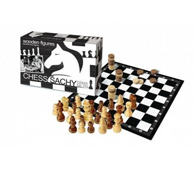 Šachy+dáma+mlýn dřevo společenská hra v krabici