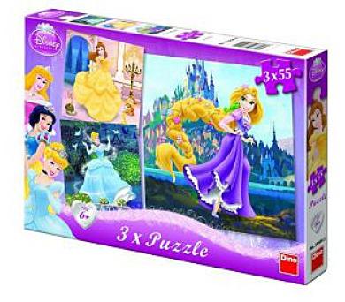 Puzzle Princezny 18x18cm 3x55 dílků v krabici 27x19x3,5cm
