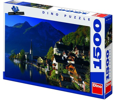 Puzzle Vesnička u jezera 84x60cm 1500 dílků v krabici 37x27x5cm