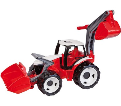 Traktor se lžící a bagrem plast červeno-bílý 65cm v krabici od 3 let + DOPRAVA ZDARMA
