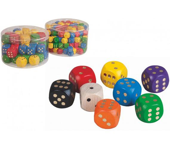 Hrací kostky dřevo společenská hra 1,6cm 200ks v dóze