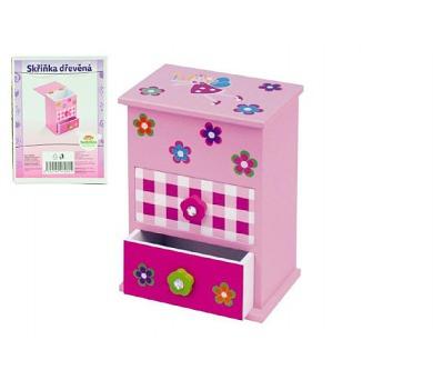 Skříňka šperkovnice růžová 2 zásuvky odklápěcí vrch police dřevo 12,2x8,16x8,7cm v krabici + DOPRAVA ZDARMA