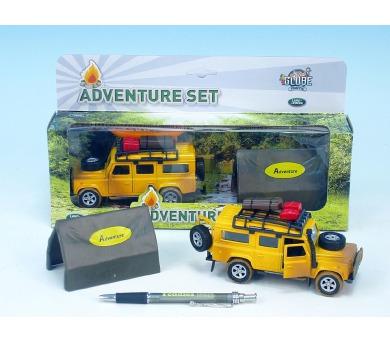 Auto Land Rover Defender kov 14cm se stanem na zpětné natažení v krabičce
