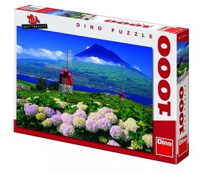 Puzzle Mlýny pod vulkánem 66x47cm 1000 dílků v krabici 37x27x5,5cm