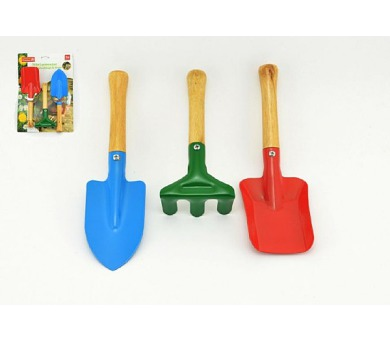 Zahradní nářadí dřevo/kov 15-22cm 3ks na kartě