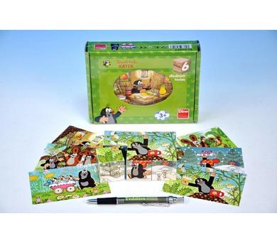 Kostky kubus Krtek a přátelé dřevo 6ks v krabičce 18,5x13,5x4cm