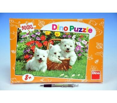 Puzzle Psi Westíci v košíku XL 47x33cm 300 dílků v krabici 34x23,5x3,5