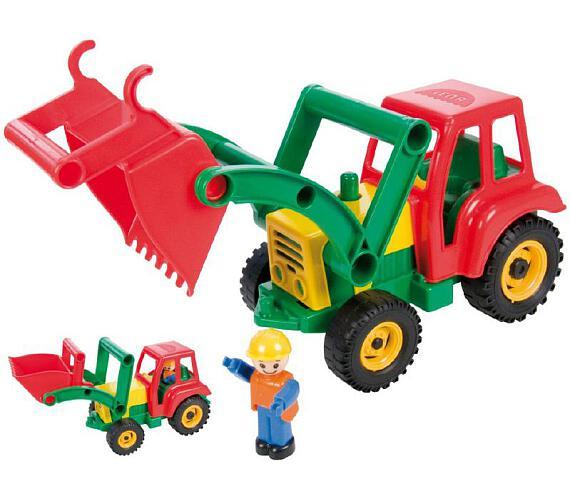 Auto traktor/nakladač s figurkou aktivní se lžící plast 35cm 24m+