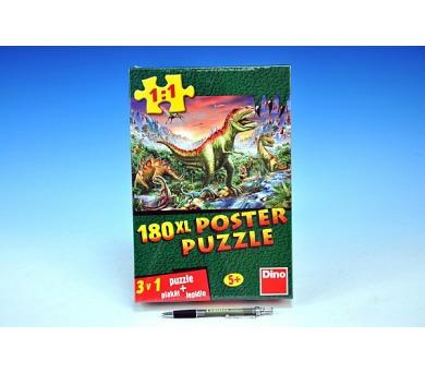 Puzzle XL Dinosauři 66x47cm + plakát + lepidlo 180 dílků v krabici 20x30x6cm + DOPRAVA ZDARMA