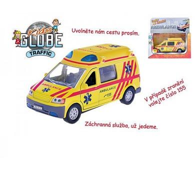 Auto ambulance kov 13cm česky mluvící na zpětné natažení na baterie se světlem v krabičce + DOPRAVA ZDARMA