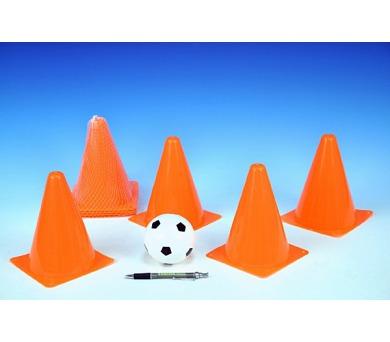 Fotbalové kužely 18cm 4ks s míčkem 10cm v síťce