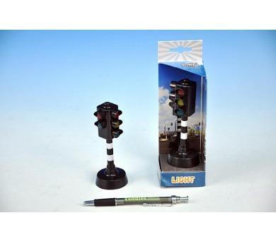 Semafor funkční plast 12cm na baterie se zvukem se světlem v krabičce
