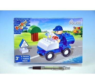 Stavebnice BanBao Auto Policie 9ks + 1 figurka v krabici 23x15x5cm
