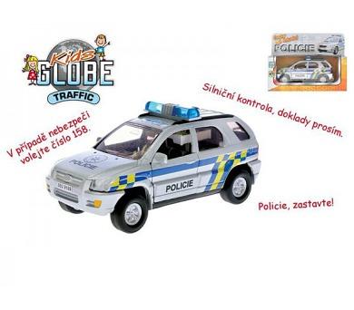 Auto policie kov 13cm česky mluvící na zpětné natažení na baterie se světlem v krabičce