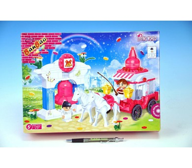 Stavebnice BanBao Loving World svatební kočár s koňmi 328ks + 2 figurky ToBees v krabici + DOPRAVA ZDARMA