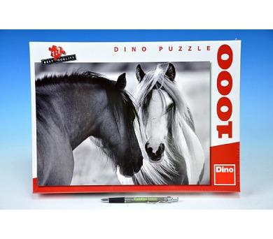 Puzzle Černobílí koně 66x47cm 1000 dílků v krabici + DOPRAVA ZDARMA